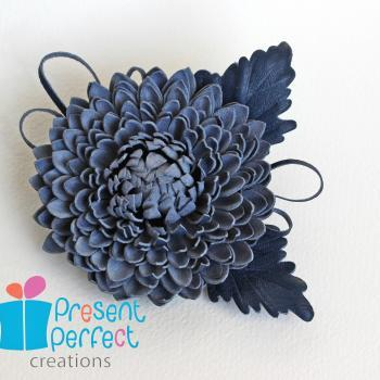 Leather flower, suede brooch, floral corsage, blue leather brooch